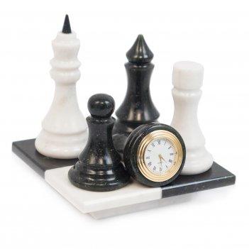 Часы шах и мат мрамор змеевик 140х140х140 мм 1300 гр.