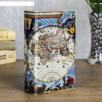 Сейф-книга карта путешественника обтянута шёлком