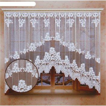 Штора со шторной лентой, размер 165х340 см, 100% п/э, цвет белый