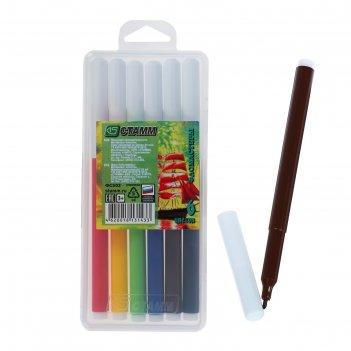 Фломастеры 6 цветов салют, в пенале, вентилируемый колпачок, длина линии п