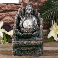 Фонтан настольный от сети, подсветка будда с лотосом серебро 26х15,5х13,5