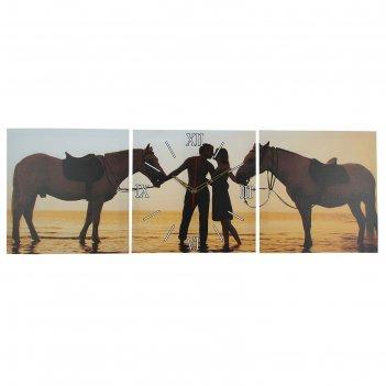 Часы настенные, серия: люди, модульные влюбленная пара, 35х110  см, микс
