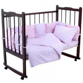 Комплект в кроватку 4 предмета мозаика, цвета сиреневый/розовый (арт. 1040