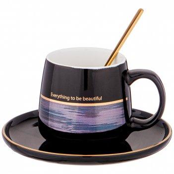 Чайная пара с ложкой lefard break time 240 мл черная (кор=24наб.)