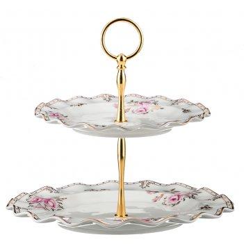 Фруктовница 2-х ярусная завтрак у королевы диаметр=19/26 см. высота=23 см.