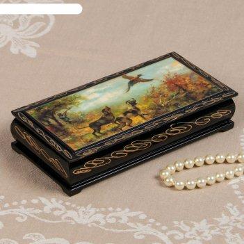 Шкатулка - купюрница «охота», 8,5x17 см, лаковая миниатюра