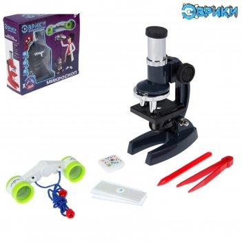 Набор биолога 8 предметов: микроскоп, бинокль, слайды, пинцет, игла, образ