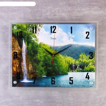 Часы настенные, серия: природа, озеро и водопад, 35х45 см