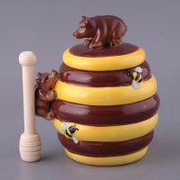 Банка для меда мишка 1000 мл. с деревянной палочкой