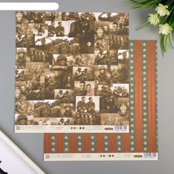 Набор бумаги для скрапбукинга (10 листов) солдаты, 30,5х30,5 см, 190 гр/м2