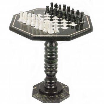 Шахматный стол с каменными фигурами мрамор змеевик 600х600х620 мм