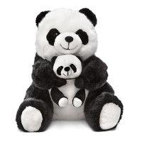 Мягкая игрушка панда с малышом сидящая музыкальная