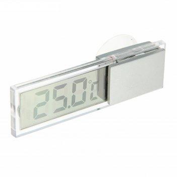 Термометр электронный на присоске прозрачный на батарейках, пластик