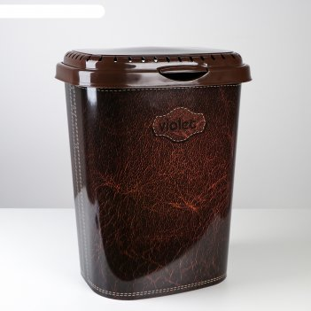 Корзина для белья с декором «кожа», 55 л