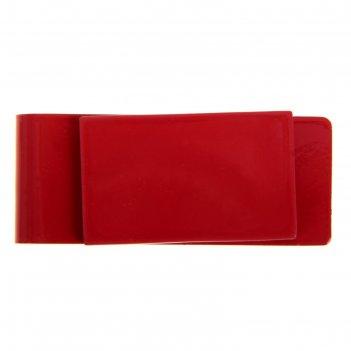 Зажим для денег прямоугольник 5,5 х 2,5см красный