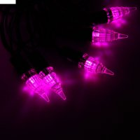Гирлянда метраж улич. с насад. конус 5 м, темн.пр. led-40, фиксинг, розовы