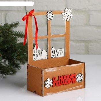 Кашпо деревянное, 15.5x9x23.5 см новогоднее. взгляд в окошко, подарочная у