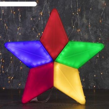 Фигура уличная звезда цветная, 44х44х4 см, пластик, 220в, 3 м провод, конт