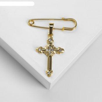 Булавка с подвеской крест 3,5см, цвет белый в золоте