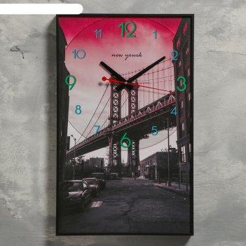 Часы настенные, серия: город, бруклинский мост, 1 аа, плавный ход, 37х60 с