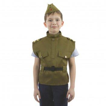 Костюм детский солдат, жилет, пилотка, рост 110-122 см, 5-7 лет