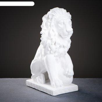 Фигура лев сидя с шаром белый 31х19х45см