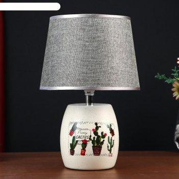 Лампа настольная кактус с цветком 1xe14 40вт белый 23х23х33 см.