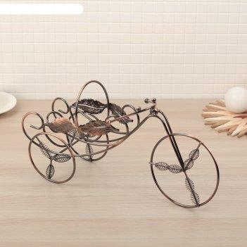 Подставка для бутылки «велосипед», 35x11,5x18,5 см, цвет коричневый