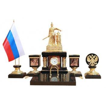 Настольный набор россия камень яшма, бронза арт.3452