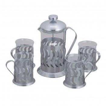 Набор чайный, 5пр: френч-пресс 600мл, кружки 200мл bekker