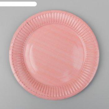 Тарелка бумажная однотонная, цвет бледно-розовый