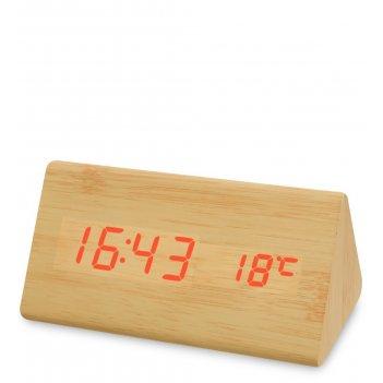 Ял-07-02/ 2 часы электронные треуг. (жёлтое дерево с оранжевой подсветкой)