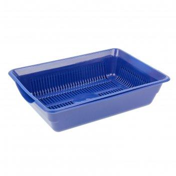 Лоток глубокий с сеткой, 38,5 х 26 х 9 см, синий