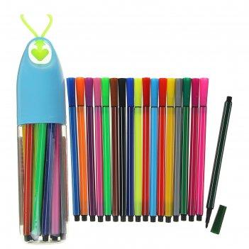 Фломастеры, 18 цветов, в пластиковом тубусе с ручкой, вентилируемый колпач