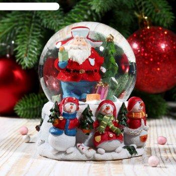 Сувенир снежный шар дед мороз в шапке-ушанке с елочкой