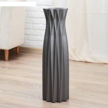 Ваза керамика напольная геометрия 16*60 см, грани, серая