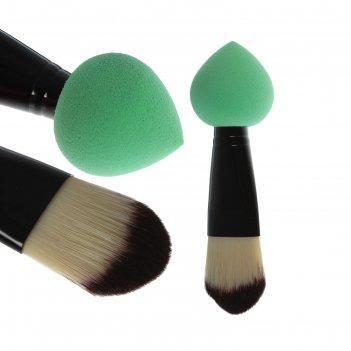 Кисть-спонж для тонального крема, двусторонняя, скруглённая, цвета микс