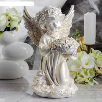 Статуэтка ангел с корзиной цветов большая, перламутровая