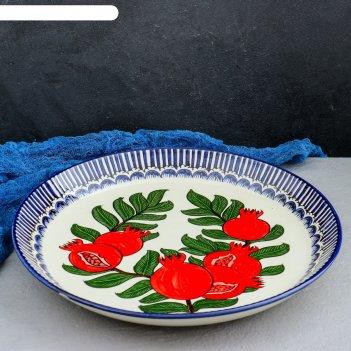 Ляган круглый «гранаты», 36 см, синяя кайма