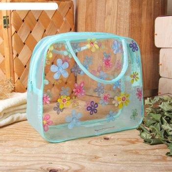 Косметичка-сумочка банная полянка, 2 ручки, цвет зелёный