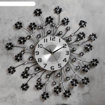 Часы настенные, серия ажур «цветочки», чёрные, d=59 см