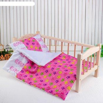 Кукольное постельное медузы на розовомпростынь,одеяло,46*36,подушка 23*17