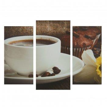 Модульная картина на подрамнике кофе, 2 шт. — 25,5x50,5 см, 30,5x60 см, 60