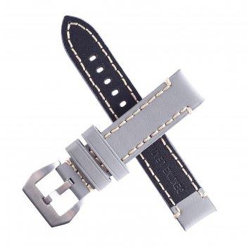 Ремешок для часов bugert 20 мм, натуральная кожа, l=20 см, серый