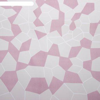 Тюль этель абстракция (цвет лиловый) без утяжелителя, ширина 135 см, высот