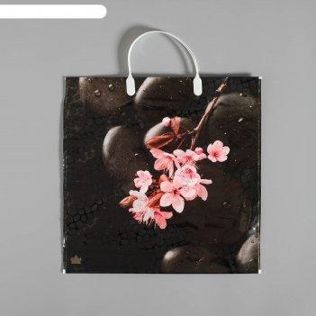 Пакет японская сакура, полиэтиленовый с пластиковой ручкой, 36х37 см, 100