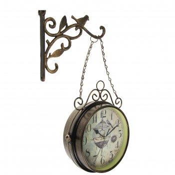 Часы настенные двусторонние птица в клетке на подвесе, d=17 см, чёрные