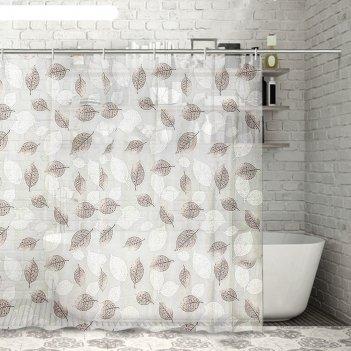 Штора для ванной черно-белые листья, 180*180 см, eva