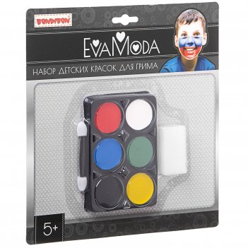 """""""eva moda. детские краски для грима (6 цветов) с аппликатором и спонж"""