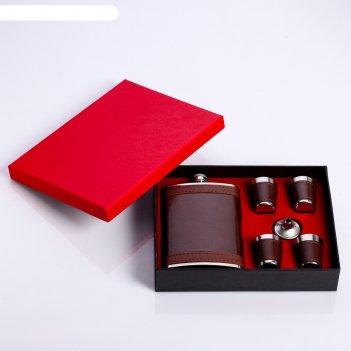 Набор подарочный 6в1: фляжка 270 мл, 4 рюмки, воронка, коричневый узор